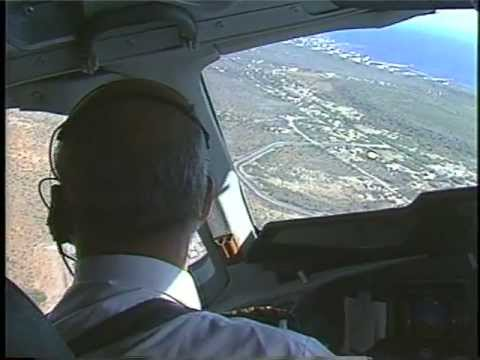 KLM MD-11 COCKPIT VIEW - TURNING BASE - FINAL - LAND AT CURACAO (TNCC)