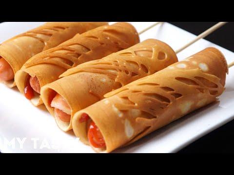 ขนมโตเกียวสูตรแป้งกรอบ สอดไส้ด้วยไส้กรอกพันเบคอน
