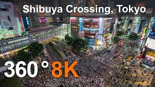 360 video, Shibuya Crossing. Tokyo, Japan. 8K video thumbnail
