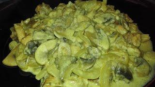 Как вкусно приготовить тушеное мясо  с грибами на сковороде