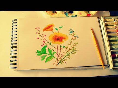 Simple Watercolor Flower | Watercolor Sketchbook Painting Ideas | Art Journal