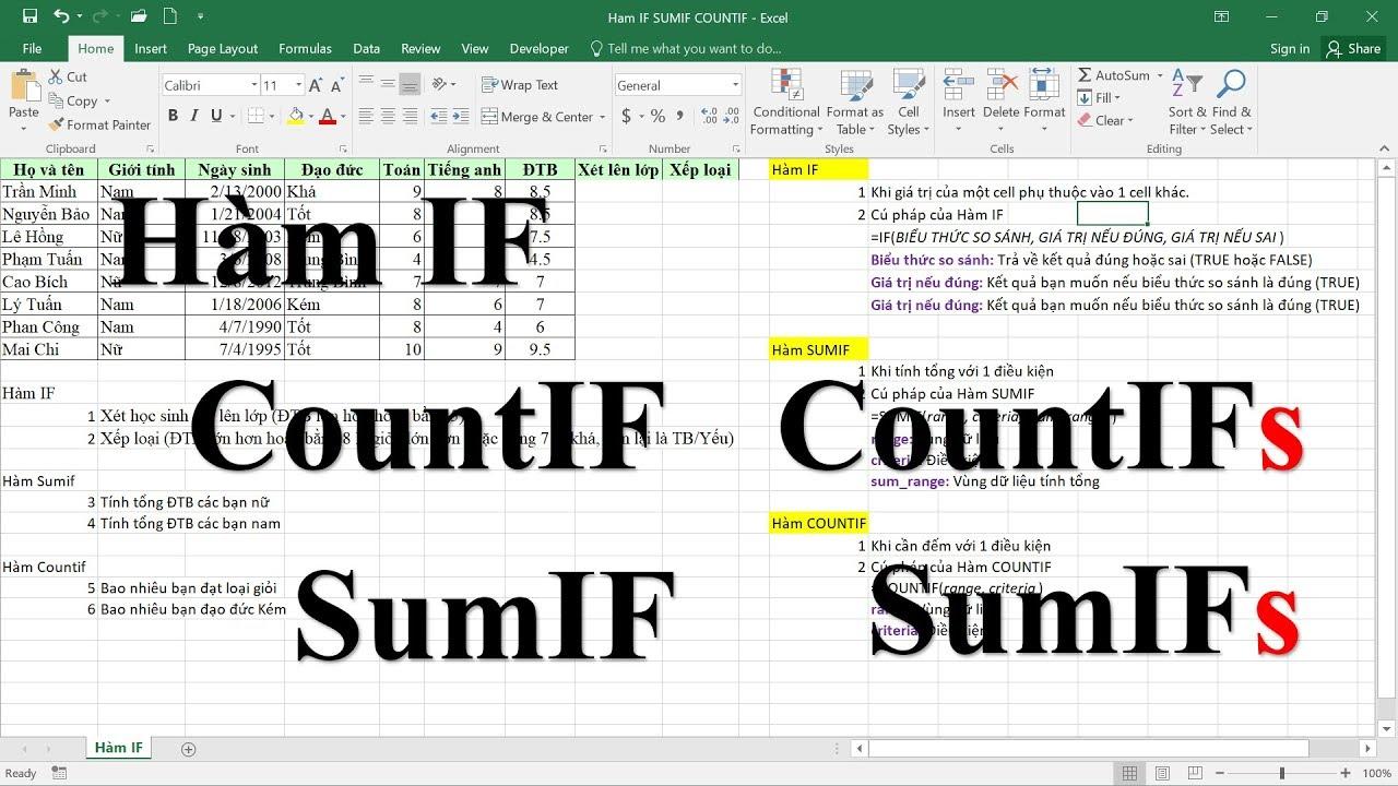 Các hàm Excel thông dụng: IF, CountIF, SumIF, CountIFs, SumIFs (hay nhất)