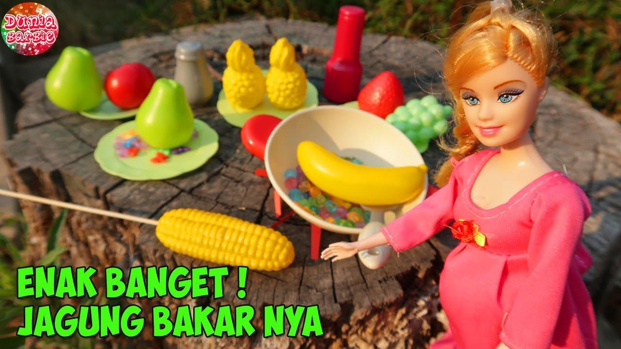 Barbie Hamil Main Masak Masakan Di Taman Mainan Anak Perempuan Barbie Doll Cooking Pretend Food Youtube