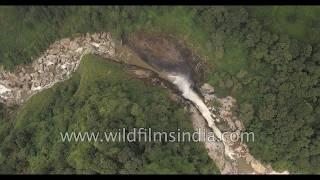 Waterfall in Shola forests and tea gardens of the Nilgiris in Munnar, Kerala