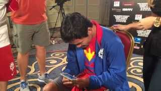 manny pacquiao watches his footlocker commercial for the first time