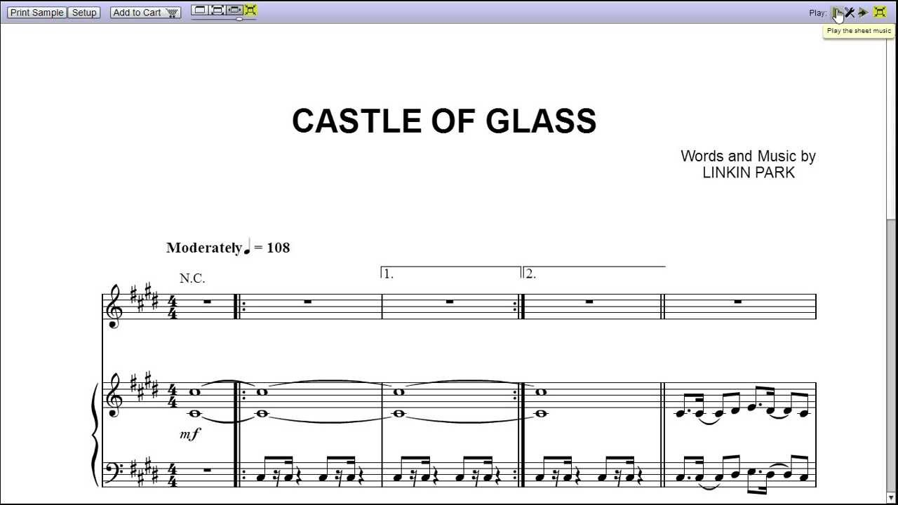 Castle of glass chords