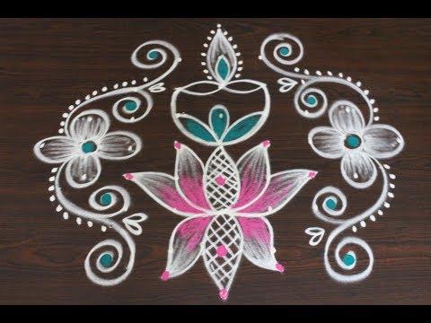 easy lotus color rangoli designs with dots * pongal kolam designs *  beautiful sankranthi muggulu