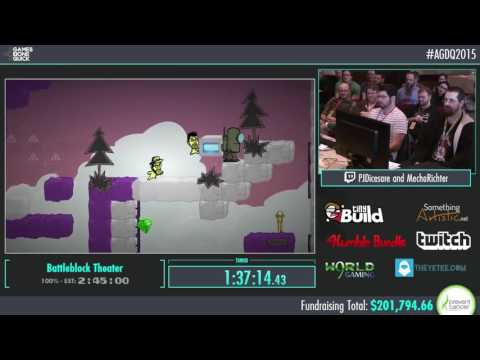 AGDQ BattleBlock Theater Speed Run: PJ and Mecha Richter (Funny Momments)
