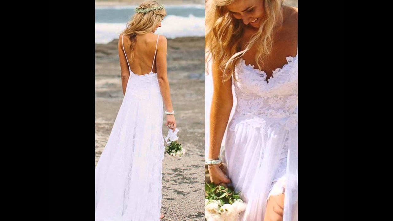 Beach Wedding Dresses - For Hawaiian Or Beach Themed Wedding - YouTube