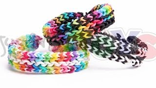 Reversible Flat Mid Stagger Bracelet - Rainbow Loom and Monster Tail Tutorial