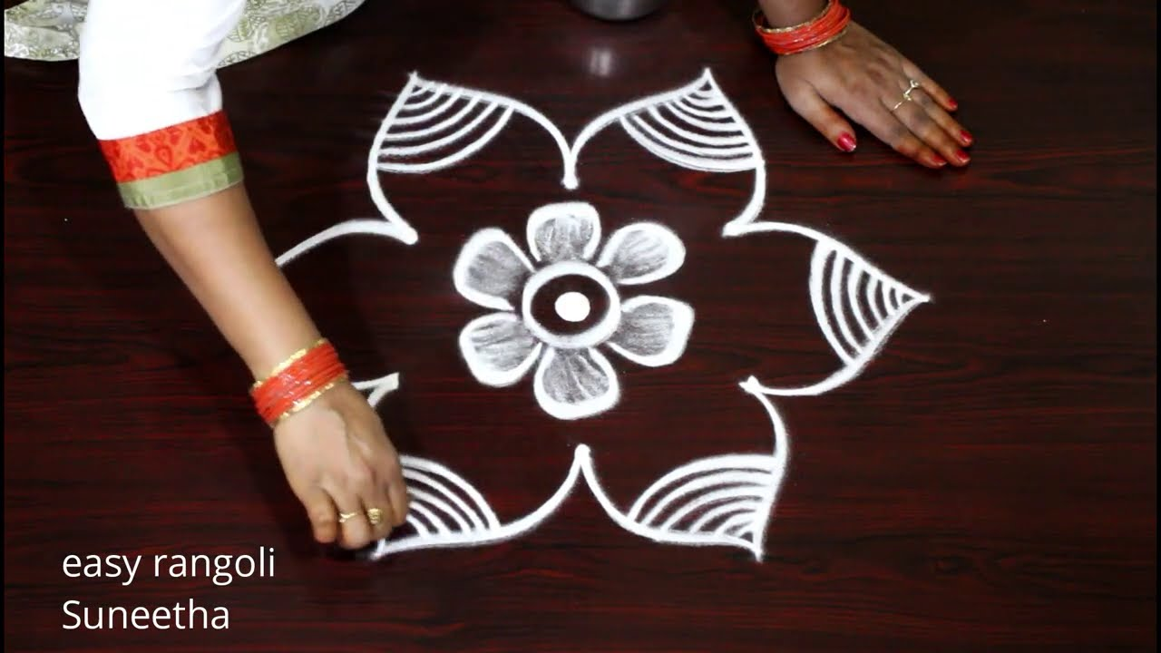 Amazing 3 dots Friday rangoli & kolam designs by Suneetha || Easy & simple rangoli muggulu