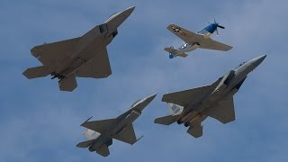 RARE P-51/F-16/F-15/F-22 Formation - USAF Heritage Flight - Gathering of Mustangs and Legends 2007