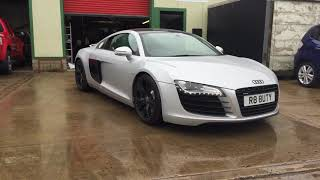 Audi R8 gloss black wrap to roof, grill, rear bumper section and side panels with silver detail.