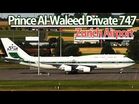 Prince Al-Waleed of Saudi Arabia | Private Boeing 747 Night Landing | Zurich Airport (ZRH/LSZH)