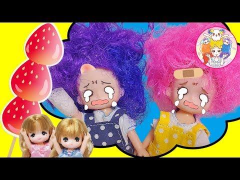 大けがをした金ちゃん銀ちゃんのために ミキマキちゃんが【いちご飴】を作るよ♪💕もけっと!あふろおねえさん💕