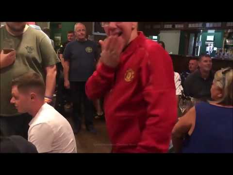 Hilarious Moment White-haired Man Utd Fan Braves Bar Packed With Hundreds Of Leeds Utd Fans