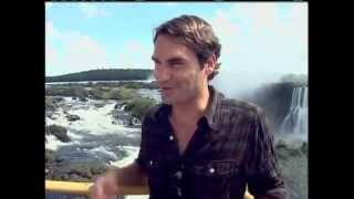 Roger Federer Enjoying Igassu falls in Brazil. Gillette Federer Tour