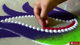 Peacock Rangoli Design | Peacock Rangoli For Diwali