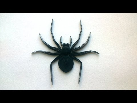 Halloween DIY - How to Make a Paper Quilling Spider. Decoration for Halloween
