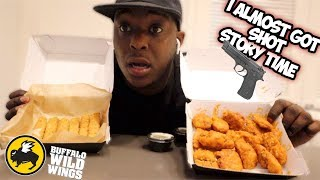BUFFALO WILD WINGS MUKBANG . . *i almost lost my life* STORY TIME