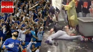 JOSE BAUTISTA Bat Flip IGNITES The Blue Jays | Mets Celebrate With Beer Slip N' Slide