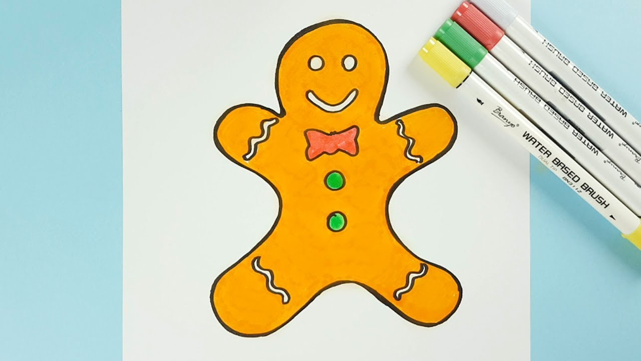 how to draw a gingerbread man youtube
