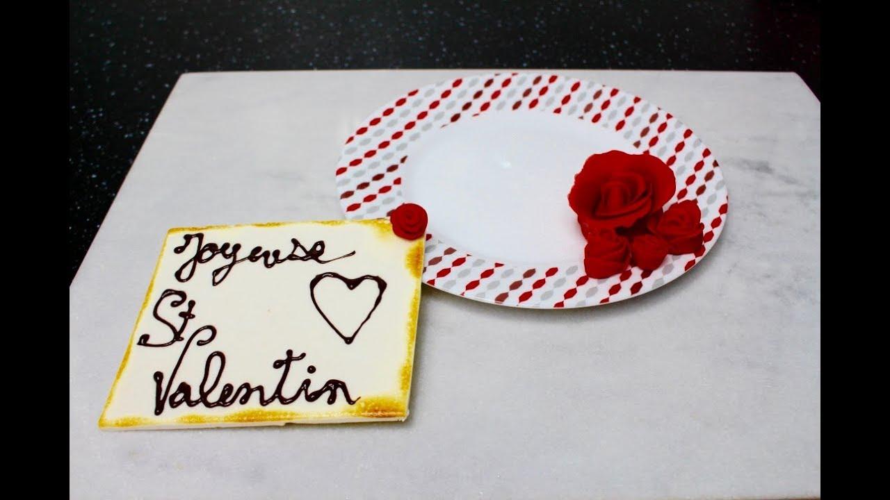 Decor St Valentin En Pate A Sucre Creation De Rose Youtube