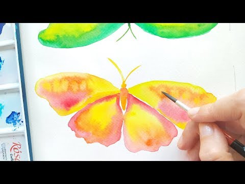 Watercolor Butterfly Painting Tutorial - DIY Abstract Art Ideas - ASMR Drawing