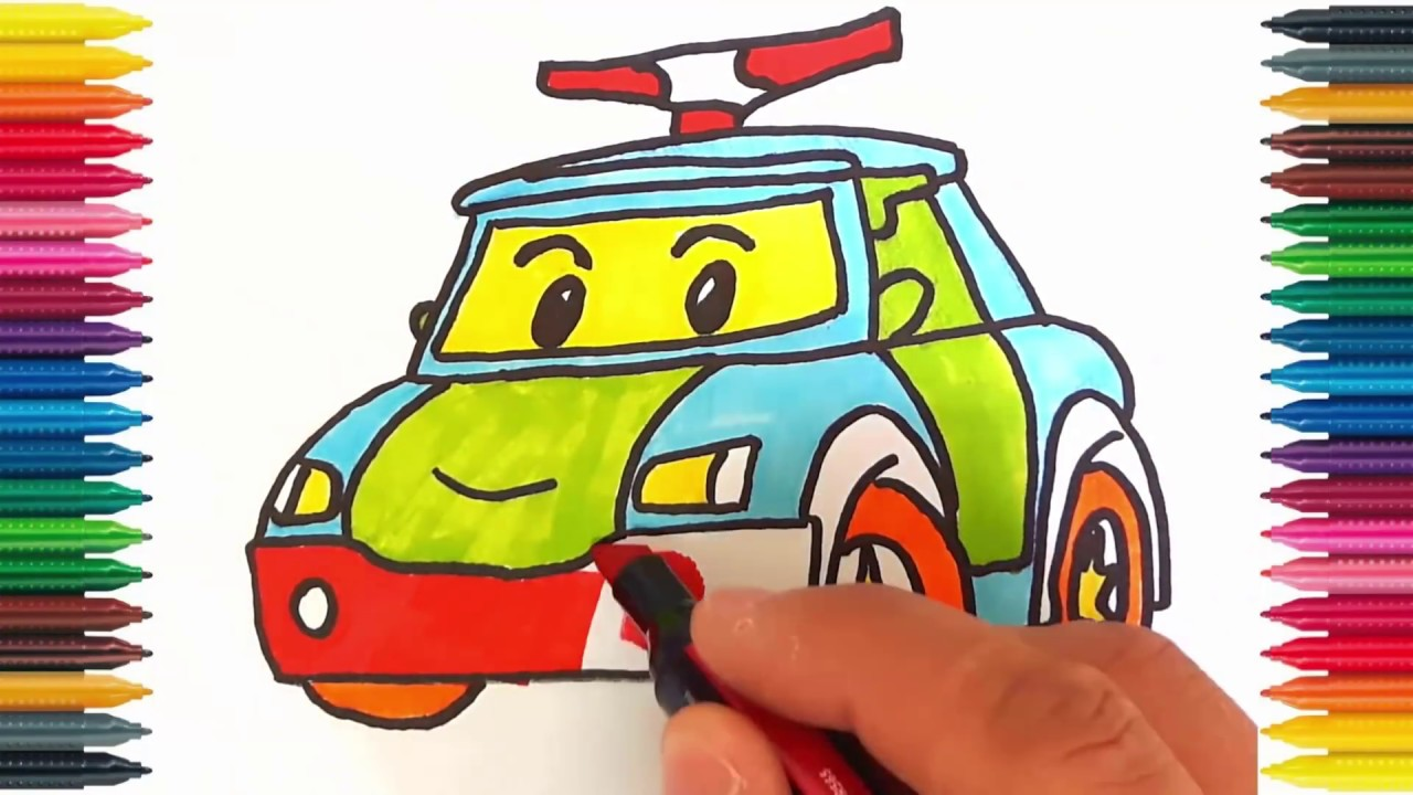 Drawing Car Learn How To Draw Police Colors Picture Coloring Book Robocar Poli