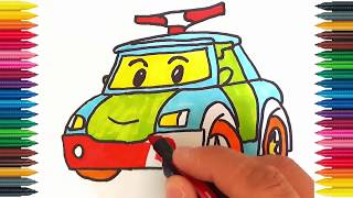 Drawing Car Learn How to Draw Police Car Colors Picture Coloring Book Police Car Robocar Poli