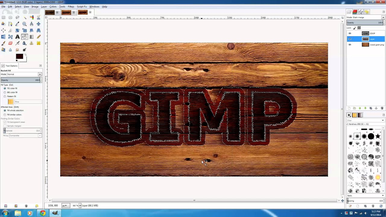 Gimp 28 wood burn effect tutorial youtube sciox Image collections