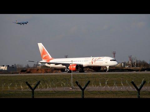 Взлёт Boeing 757 RA-73011 VIM Airlines из Домодедово, апрель 2015