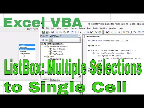 Excel VBA ListBox Multiple Selections To A Single Cell Comma Separated