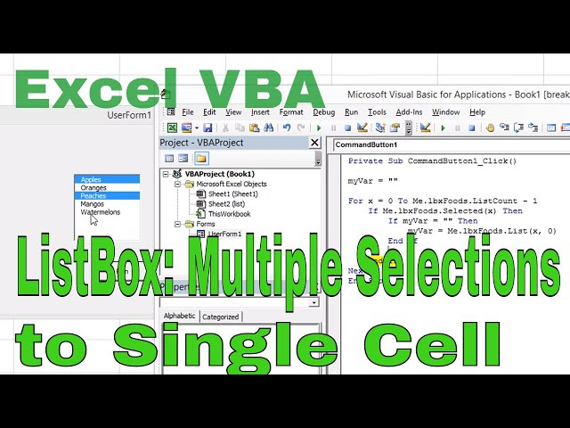 Excel VBA ListBox Multiple Selections to a Single Cell Comma Separated -  YoutubeDownload pro