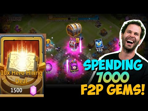 JT's F2P New Hero SO LUCKY Spending 7000 Gems Castle Clash