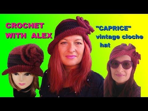 "CROCHET CLOCHE HAT IPERBOLIC BRIM AND CURLS ""CAPRICE""  tutorial ALEX"