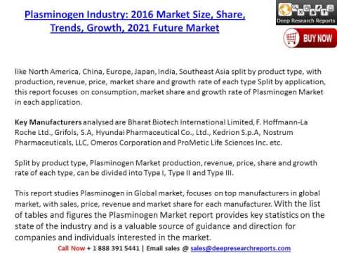 Plasminogen Market: Global Industry Size, Share, Growth and Forecast to 2021