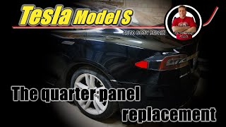 Tesla Model S. The quarter panel replacement. Замена заднего крыла.