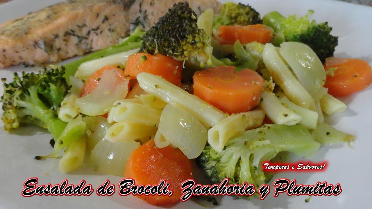 Como Cocinar Brocoli Hervido | Ensalada De Brocoli Zanahoria Y Plumitas Rapida Nutritiva Y