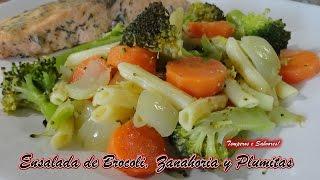 ENSALADA DE BRÓCOLI, ZANAHORIA Y PLUMITAS rápida, nutritiva y saludable
