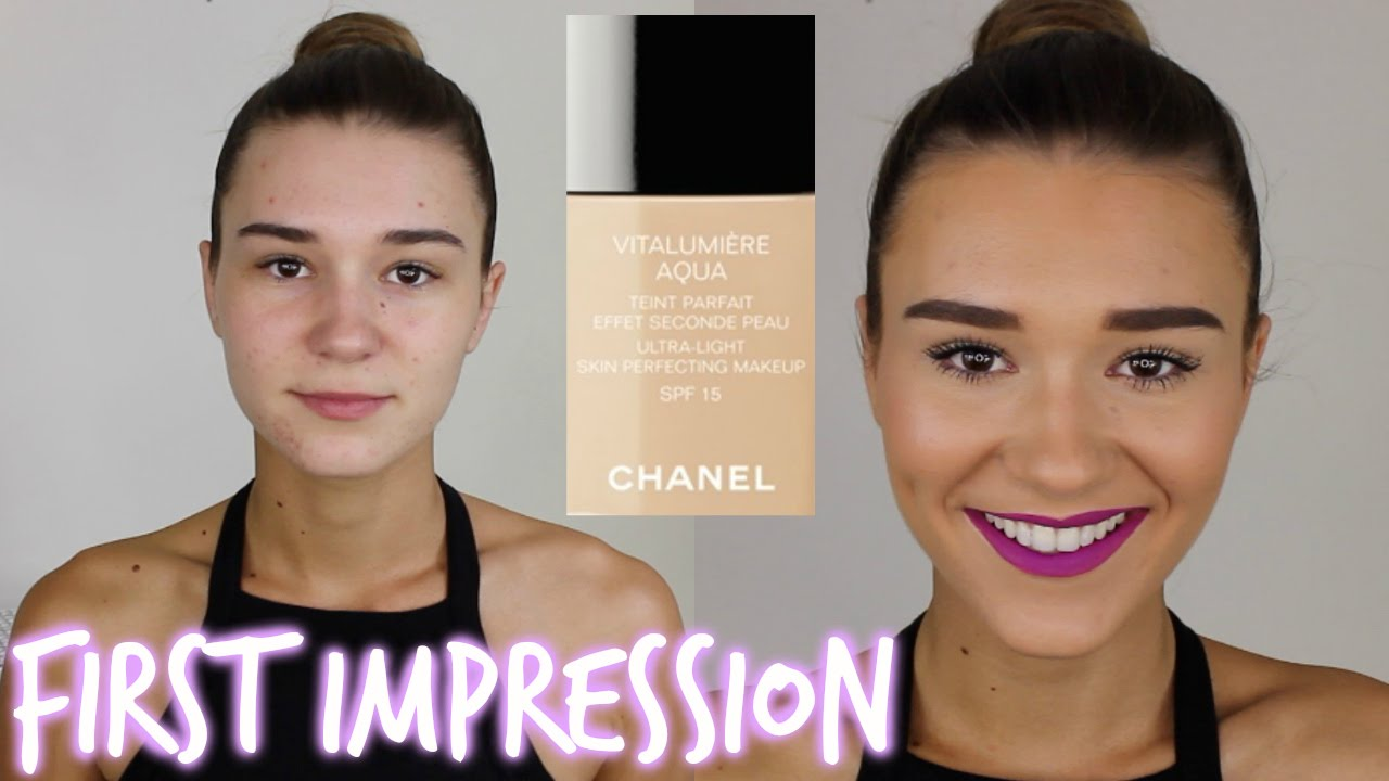 first impression chanel vitalumiere aqua foundation youtube. Black Bedroom Furniture Sets. Home Design Ideas