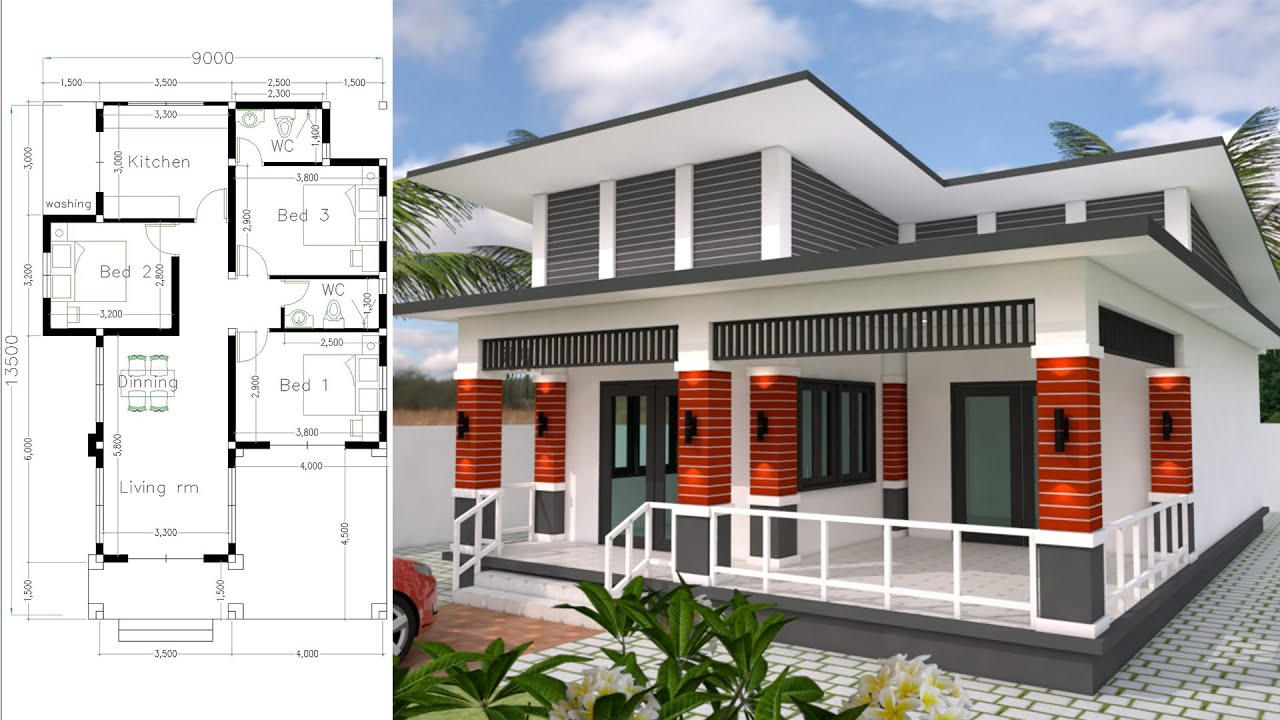 Bungalow House Design 9x13 5 Meter With 3 Bedrooms Home Design 3d Full Plan