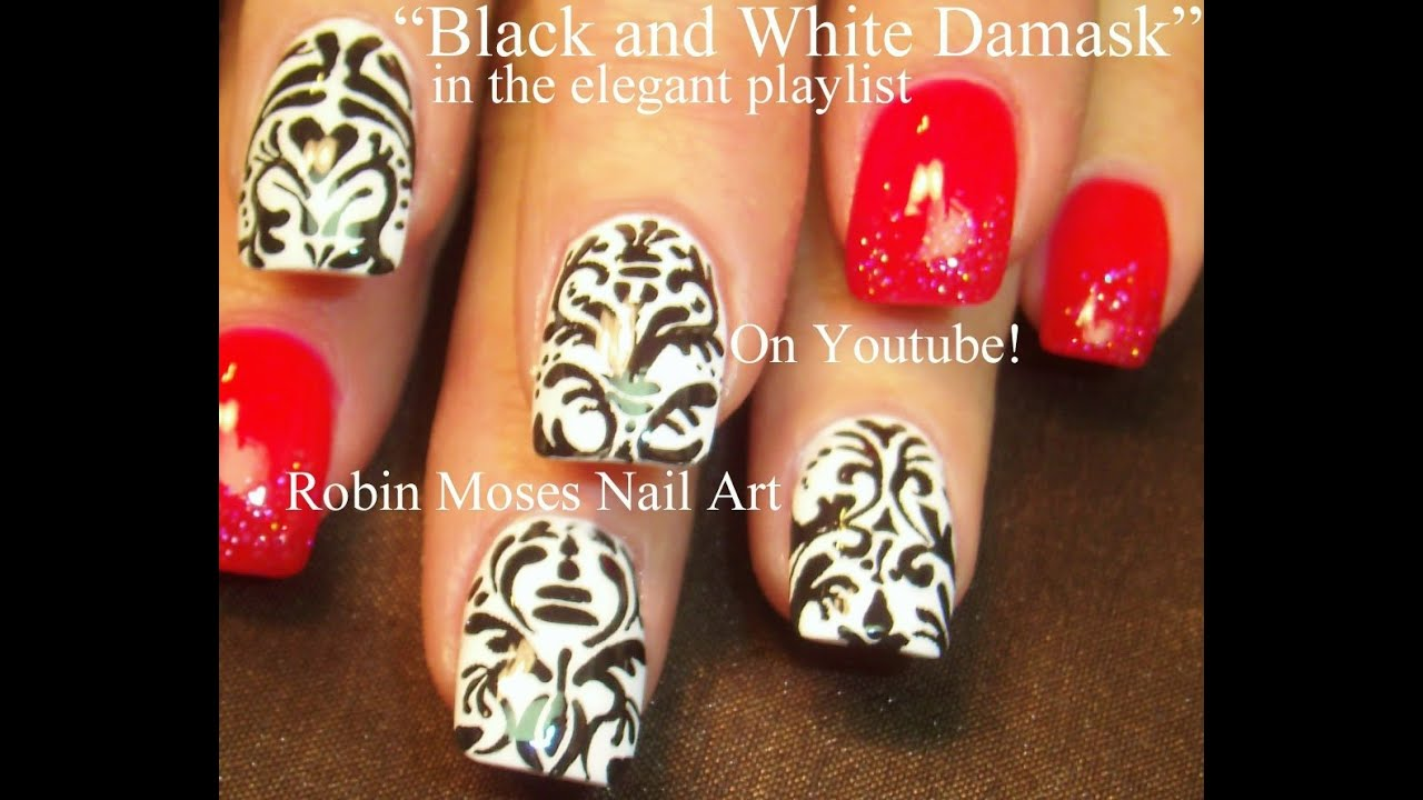 4 Nail Art Tutorials | DIY Damask Nail Design Tutorial - YouTube