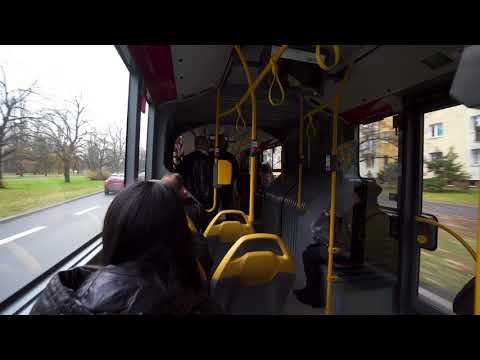Poland, Warsaw, riding with bus No 188 from Politechnica Metro station, direction Airport