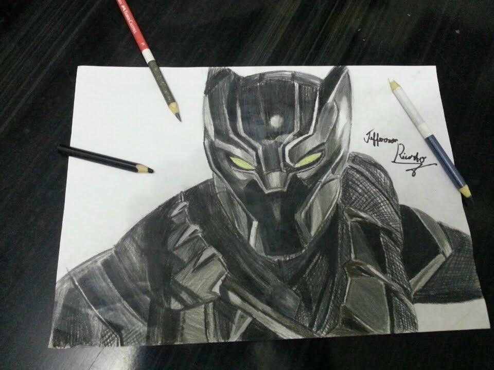 drawing black panther desenhando pantera negra por jefferson