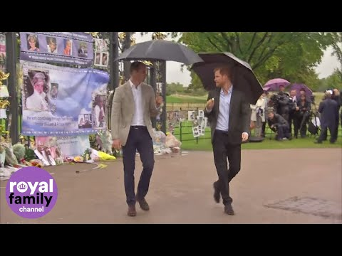 The Duke and Duchess of Cambridge and Prince Harry visit Princess Diana's memorial garden