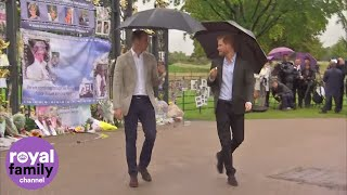 An emotional visit to Diana's memorial garden for William, Kate and Harry.