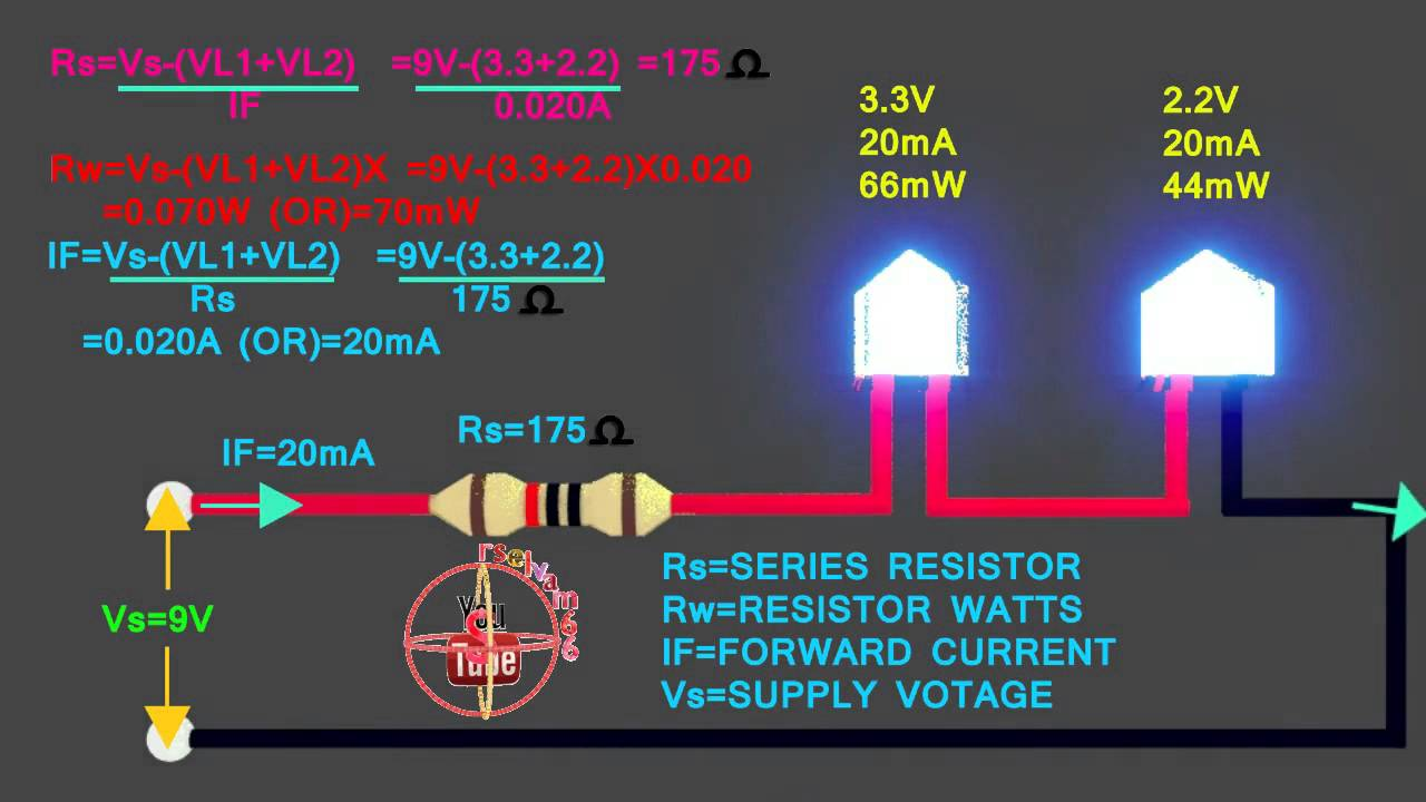 3 3v 2 2v led how to connect 9v circuit how to calculate led rh youtube com LED Wiring Circuit Diagram LED Wiring Guide