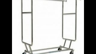 Collapsible Double Rail Salesman Rolling Clothing Rack | Chrome