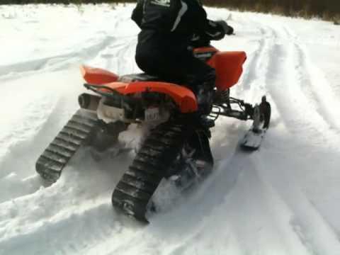 2004 kfx 700 with ski's and tracks bobby sampson - YouTube